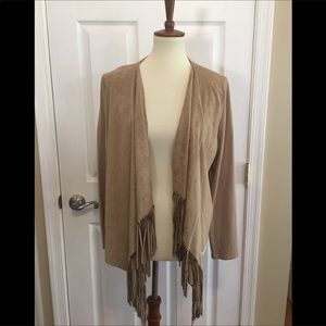 Doncaster Tan Microsuede Fringed Cardigan